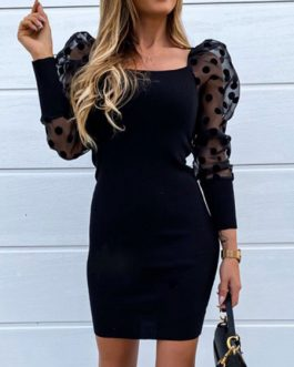 Bodycon Square Neck Casual Long Sleeves Pencil Dress