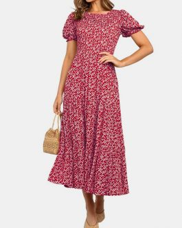 Bohemia Short Sleeve V-neck Floral Print Patchwork High Waist Dress