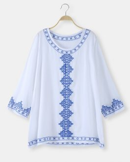 Bohemian Embroidery O-neck Long Sleeve Bikini Shirt Dress