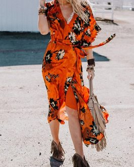 Bohemian Floral Print Cross Wrap Beach Long Maxi Dress