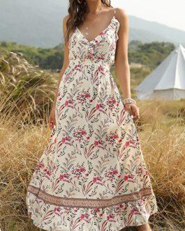 Bohemian Floral Print Elastic Waist Straps Sleeveless Maxi Dress