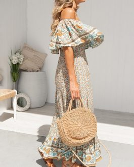 Bohemian Floral Print Off Shoulder Beach Long Maxi Dress