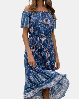 Bohemian Floral Print Off Shoulder Ruffled Dress