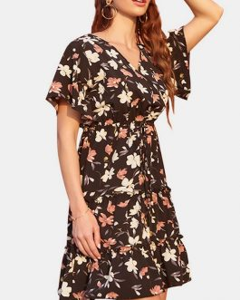 Bohemian Floral Print V Neck Drawstring Waist Short Sleeve Mini Dress