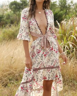 Bohemian Floral Print V-neck Backless Irregular Hem Dress