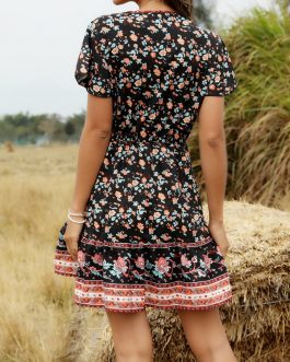 Bohemian Floral Print V-neck Short Sleeve Holiday Beach Mini Dress