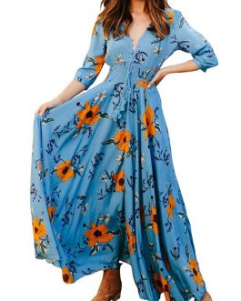 Bohemian Floral Random Print V-neck 3/4 Sleeve Buttons Maxi Dress