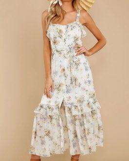 Bohemian Floral Straps Front Split Maxi Dress