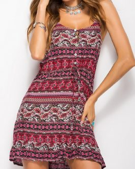 Bohemian Floral Straps Sleeveless Print Beach Mini Dress