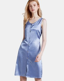 Button-down Waist Lace-up Nightgown