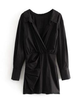 Casual A Line Turn Down Collar Elegant Short Dress
