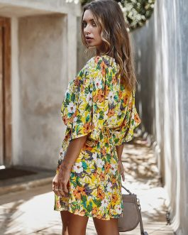 Casual Floral Print V-neck Drawstring Waist Shirt Dress