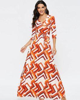 Casual Geometric Print Half Sleeve Maxi Dress