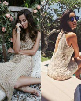 Casual Knitted Bikini Cover-Ups Hollow Beach Dress
