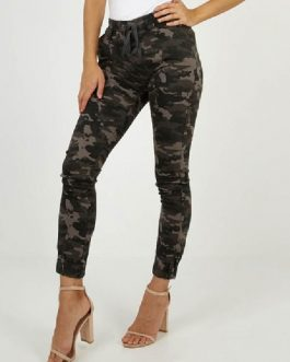 Casual Skinny Cotton Blend Camouflage Trousers