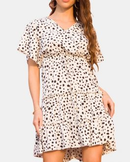 Causal Polka Dot Print V-neck Short Sleeve Mini Dress