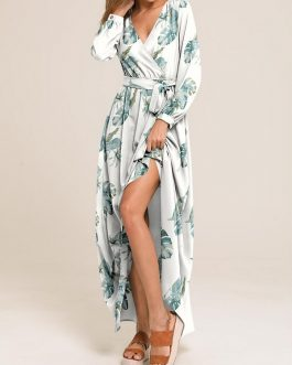 Causal V-neck Belted Long Sleeve Beach Holiday Maxi Dress