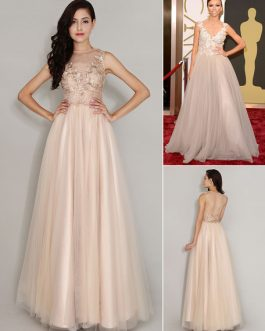 Celebrity Dresses Floor Length Tulle Applique Jewel Neck Evening Dress Inspired By Giuliana Rancic At Oscar