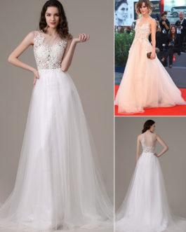 Celebrity Dresses Prom Dresses 2020 Princess Evening Dress Lace Applique Tulle Illusion Red Carpet Dress