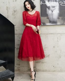 Cocktail A Line Jewel Neck Tea Length Lace Social Party Dresses