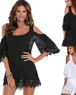 Cold Shoulder Bikini Cover Up Mini Dress