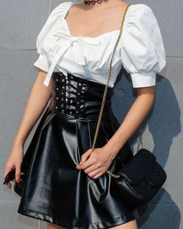 Corset Leather Like Lace Up Skirt