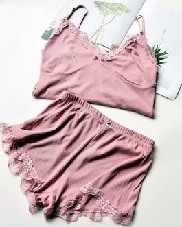 Cotton Lace Sleeveless Sling and Shorts Sleepwear