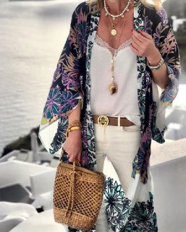 Cover Ups Floral Print Long Sleeves Polyester Beach Bathing Suits