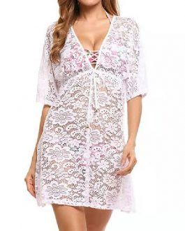Floral Print V Neck Sheer Chiffon Beach Swimming Suits