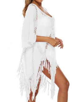 Fringe Cut Out V Neck Short Sleeves Polyester Cover Ups
