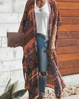 Printed Short Sleeves Polyester  Cover Ups