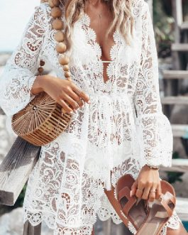 V Neck Long Sleeves Semi Sheer Lace  Beach Bathing Suits