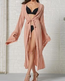 Cover Ups Lace Up V Neck Long Sleeves Oversized Cotton Sexy Swimwear