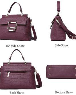 Crocodile Pattern Embossed Leather Shoulder Handbag