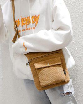 Solid Delicate Design Corduroy Shoulder Crossbody Bag