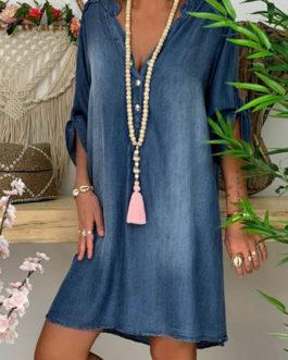 Denim Shift V Neck Beach Mini Dress