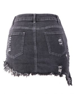 Denim Skirt Self Fringe Irregular Hem Bottoms