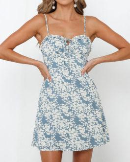 Ditsy Floral Printed Beach Slip Mini Dress