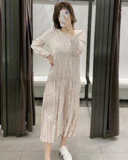 Dot Print O Neck Loose Casual Dress