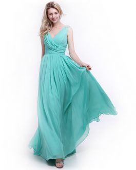 Elegant Bridesmaid Dress with Cowl Neck and Beading Chiffon Skirt