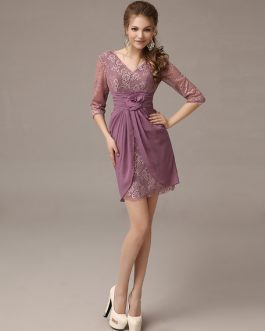 Elegant Chiffon Lace V-neck Mother of The Bride Dress