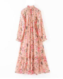 Elegant Floral Print Ruffles Buttons Pleated Dress
