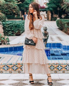 Elegant Polka Dot Long Sleeve Midi Dress