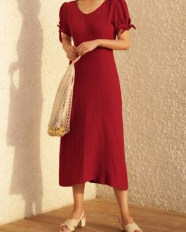Elegant Vintage Style Cotton Puff sleeve Bow-knot Design Casual Dress