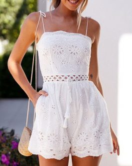 Embroidery Sleeveless Cut Out Straight Romper Playsuit