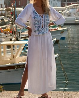 Embroidery V-neck Long Sleeve Split Beach Maxi Dress