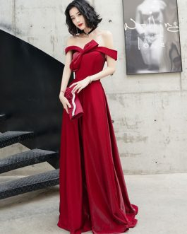 Evening A Line Bateau Neck Floor-Length Bows Social Party Dresses
