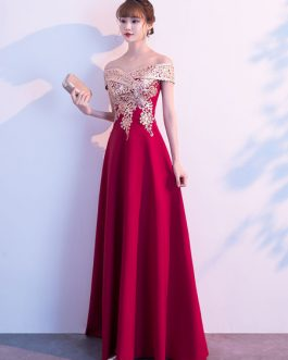 Evening A Line Off The Shoulder Floor Length Short Sleeves Zipper Sequins Social Party Dresses
