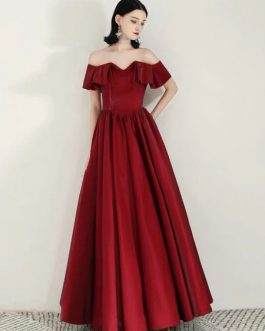 Evening A Line Strapless Floor Length Ruffles Social Party Dresses