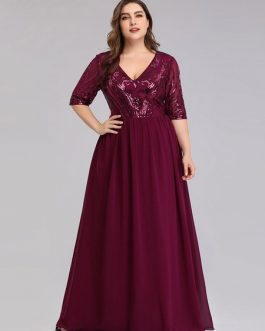 Evening A Line V Neck Floor Length Pleated Formal Dinner Dresses